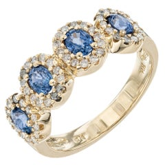 1.05 Carat Sapphire Diamond Halo Yellow Gold Band Ring