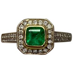 1.05 Carat Vivid Green Colombian Emerald Diamond Art Deco Style 18K Gold Ring