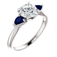 1.05 Round Brilliant Diamond and Sapphire Platinum Engagement Ring GIA D-SI1