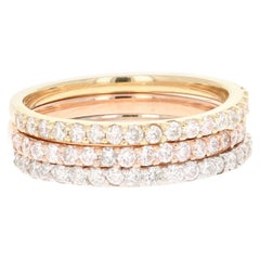 1.05 Round Cut Diamond White, Rose, Yellow Gold Stackable Bands