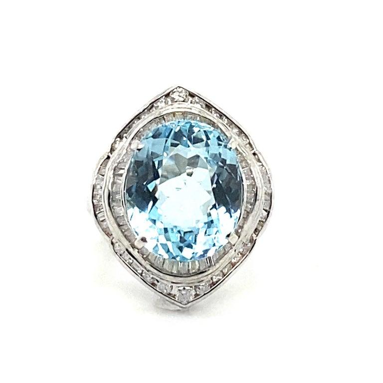 Oval Cut 10.50 Carat Aquamarine with 1.50 Carats of Diamonds