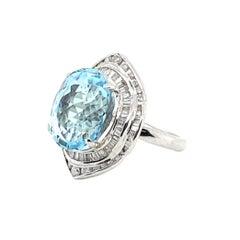 10.50 Carat Aquamarine with 1.50 Carats of Diamonds