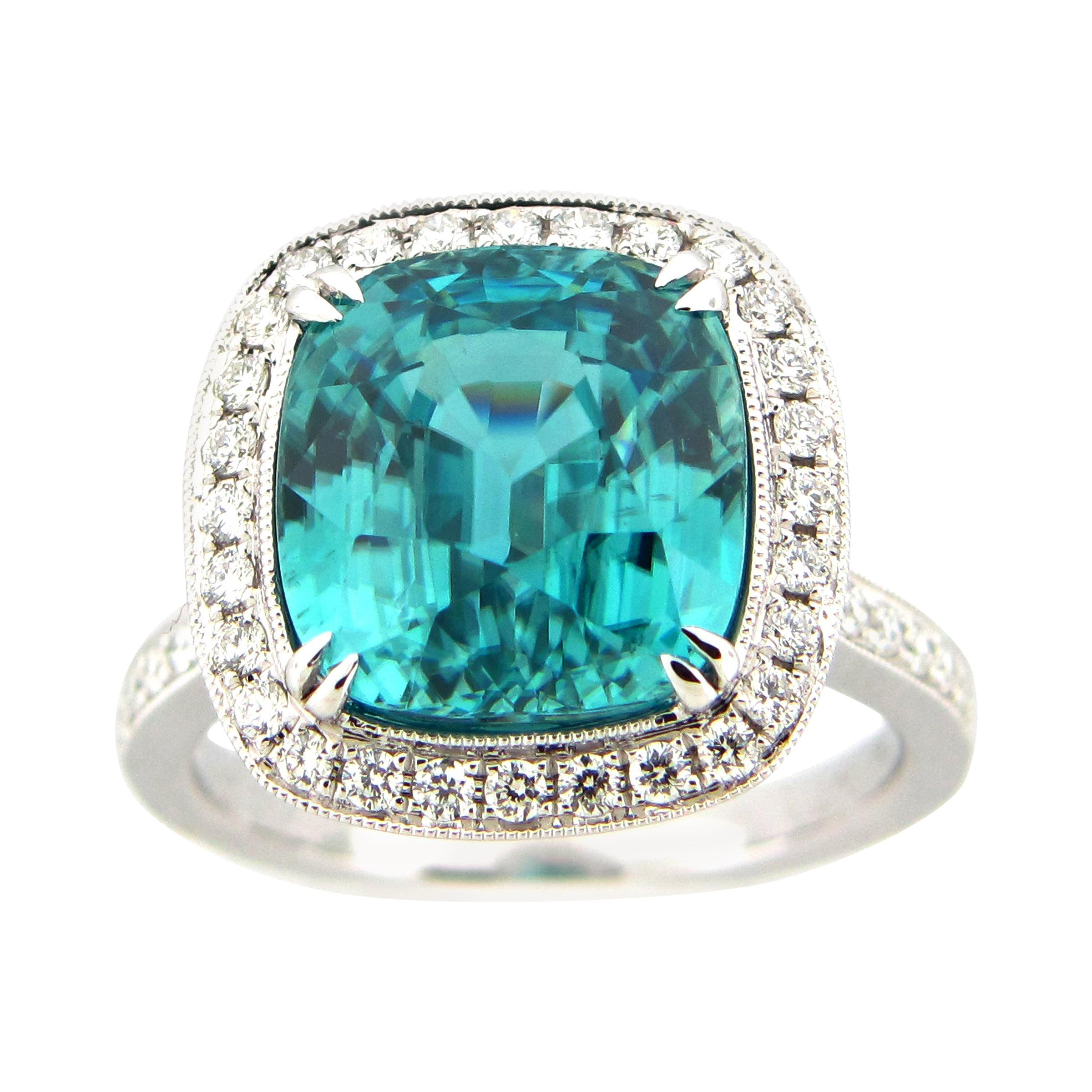 10.50 Carat Blue Zircon and Diamond Cocktail Ring
