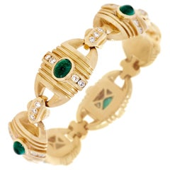 10.50 Carat Emerald Cabochon and Diamond Bracelet in 18 Karat Yellow Gold