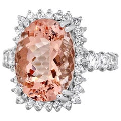 10.50 Carat Impressive Natural Morganite and Diamond 14K Solid White Gold Ring