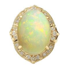 10.50 Carat Natural Opal 18 Karat Yellow Gold Diamond Ring