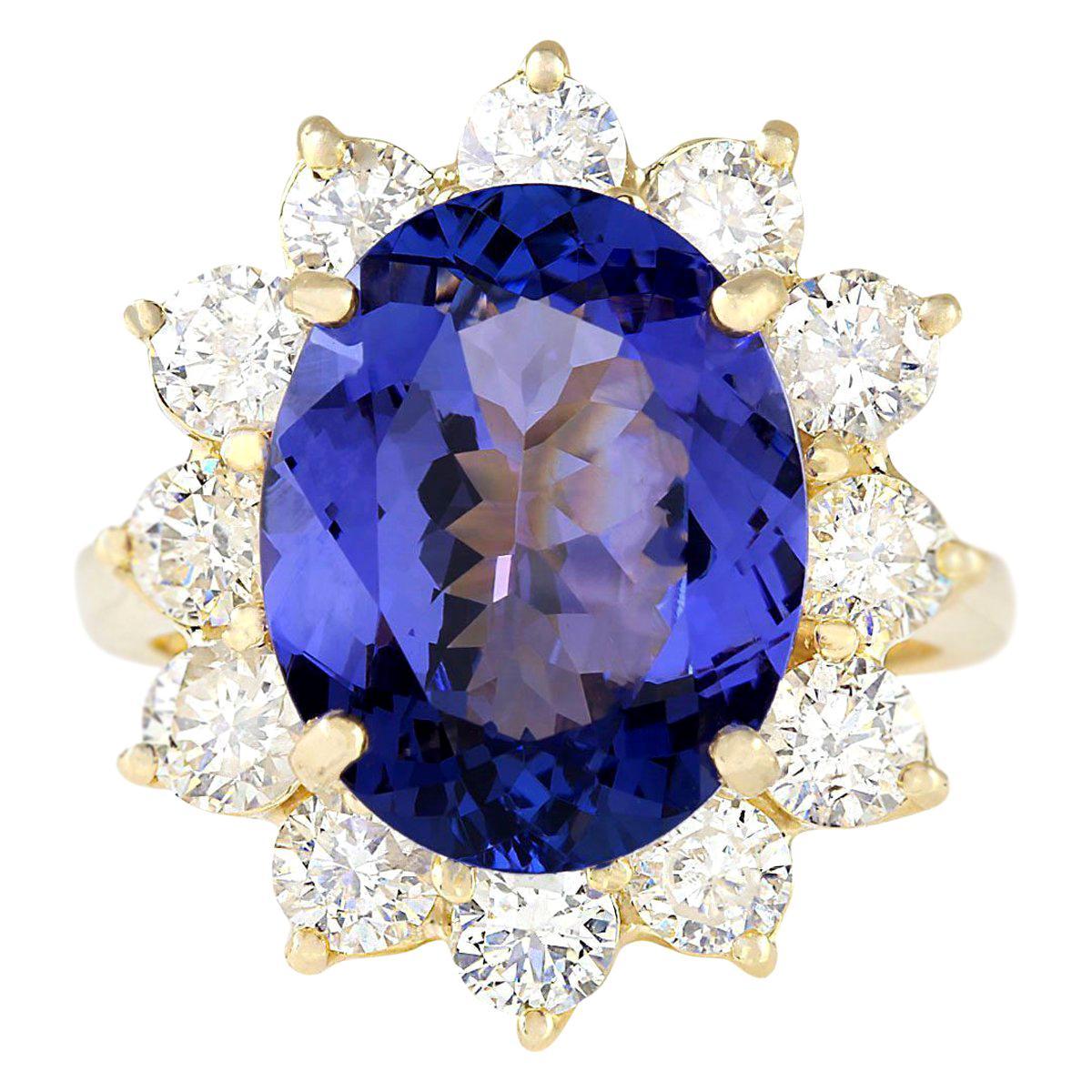 10.50 Carat Tanzanite 18 Karat Yellow Gold Diamond Ring