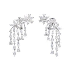 10.50 Carat Pear and Marquise Floral Chandelier Diamond Earrings in 18K Gold