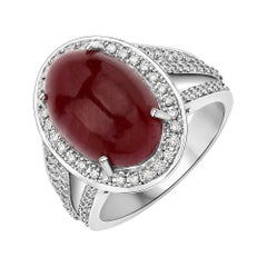 10.50 Carat Ruby Cabochon and Diamond 14 Karat White Gold Cocktail Ring