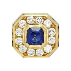 10.50 Carats Natural Sapphire and Diamond 18k Solid Yellow Gold Men's Ring
