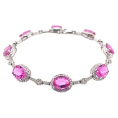 10.51 Carat Pink Sapphire Bracelet in 18 Karat White Gold with Diamonds