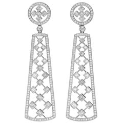 10.51 Carat Princess-Cut Diamond 18 Karat White Gold Chandelier Earrings