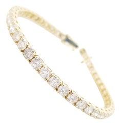 10.51 Carat Round Brilliant Cut Diamond Tennis Bracelet 14 Karat Yellow Gold
