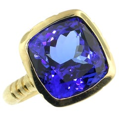 10.52 Carat Tanzanite in 18 Karat Custom Gold Ring