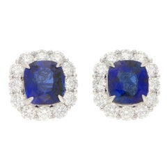 Sapphire and Diamond Cluster Stud Clip Earrings Platinum 10.52 Carat