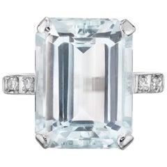 10.55 Aquamarine Diamond White Gold Cocktail Ring