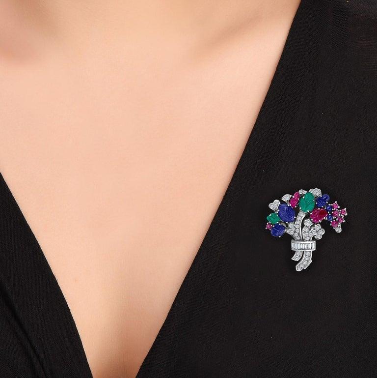 Art Deco 10.55 Carat Diamond Sapphire Ruby Emerald Brooch For Sale