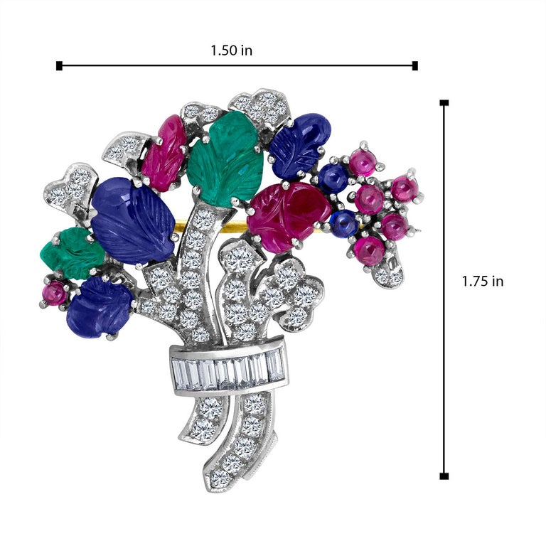 10.55 Carat Diamond Sapphire Ruby Emerald Brooch In New Condition For Sale In New York, NY