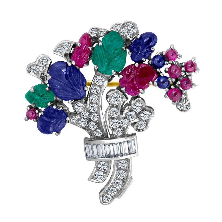 10.55 Carat Diamond Sapphire Ruby Emerald Brooch For Sale