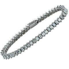 10.55 Carat Emerald Cut Diamond 18 Karat White Gold Tennis Bracelet