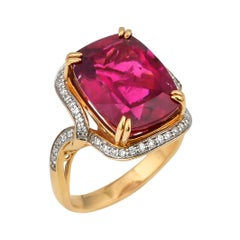 10.56 Carat Cushion Shaped Rubelite Ring in 18 Karat Yellow Gold with Diamonds