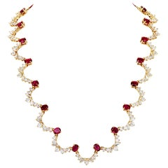10.56 Carat Oval Ruby and 10.78 Carat Diamond Wreath Necklace in 18 Karat Gold