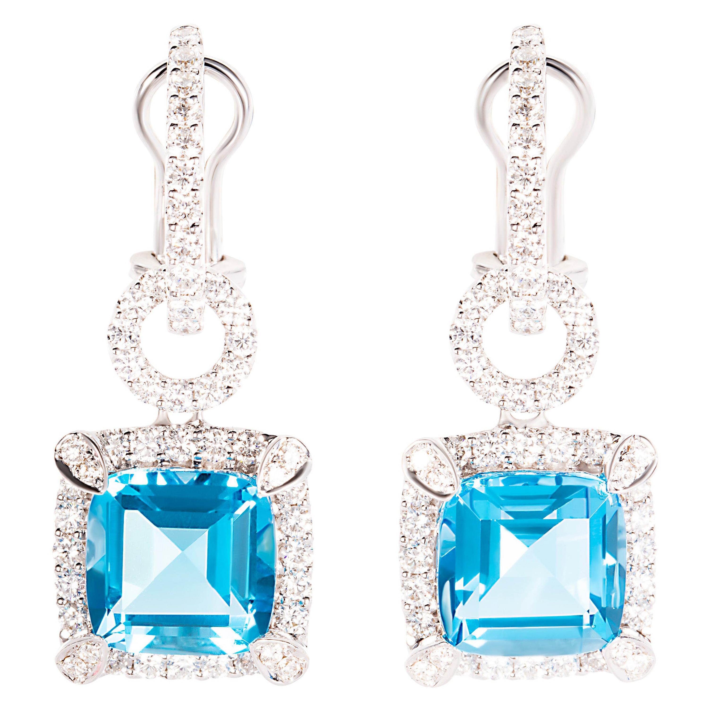 10.57 Carat Blue Topaz Diamond 18 Karat White Gold Dangle Drop Earrings