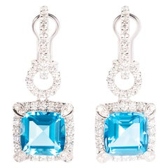 10.57 Carat Blue Topaz Diamond 18 Karat White Gold Dangle Drop Earrings