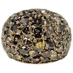 10.57 Carat Total Fancy Cognac Diamond Pave Dome Ring in 18 Karat Yellow Gold
