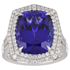 10.58 Carat Cushion Cut Tanzanite Ring with Diamonds 18 Karat White Gold