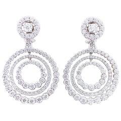 10.58 Carat Diamond Multi Circle Drop Dangle 18 Karat White Gold Earrings