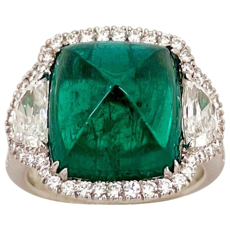 10.58 Carat Sugarloaf Cabochon Emerald and Diamond Ring For Sale