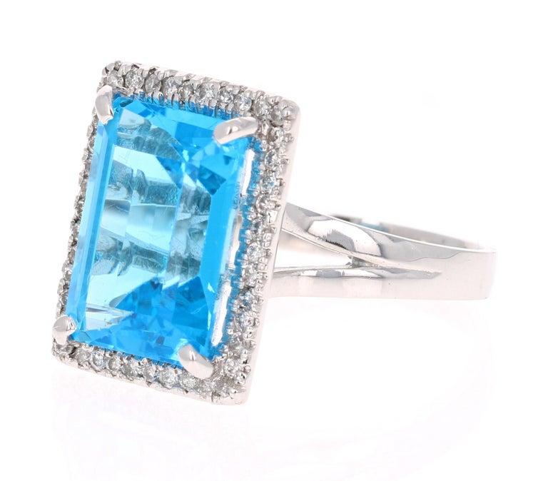 Modern 10.59 Carat Blue Topaz Diamond 14 Karat White Gold Cocktail Ring For Sale