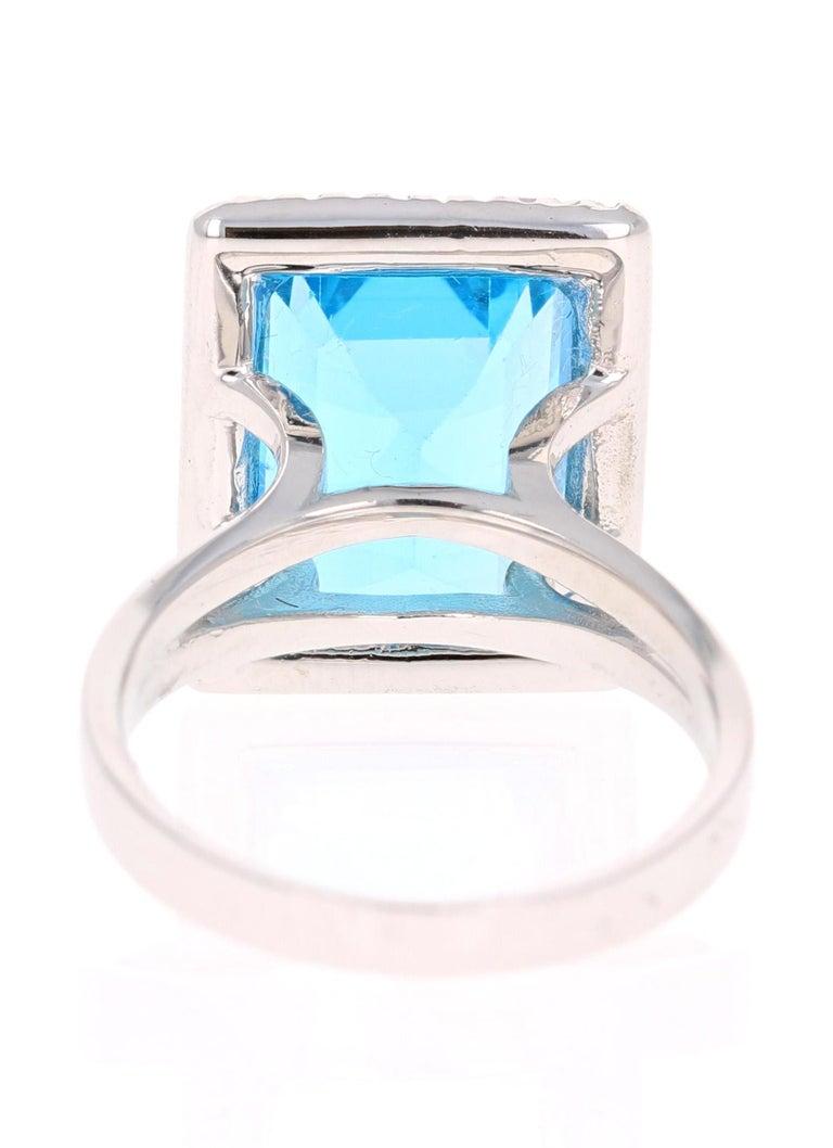 Emerald Cut 10.59 Carat Blue Topaz Diamond 14 Karat White Gold Cocktail Ring For Sale