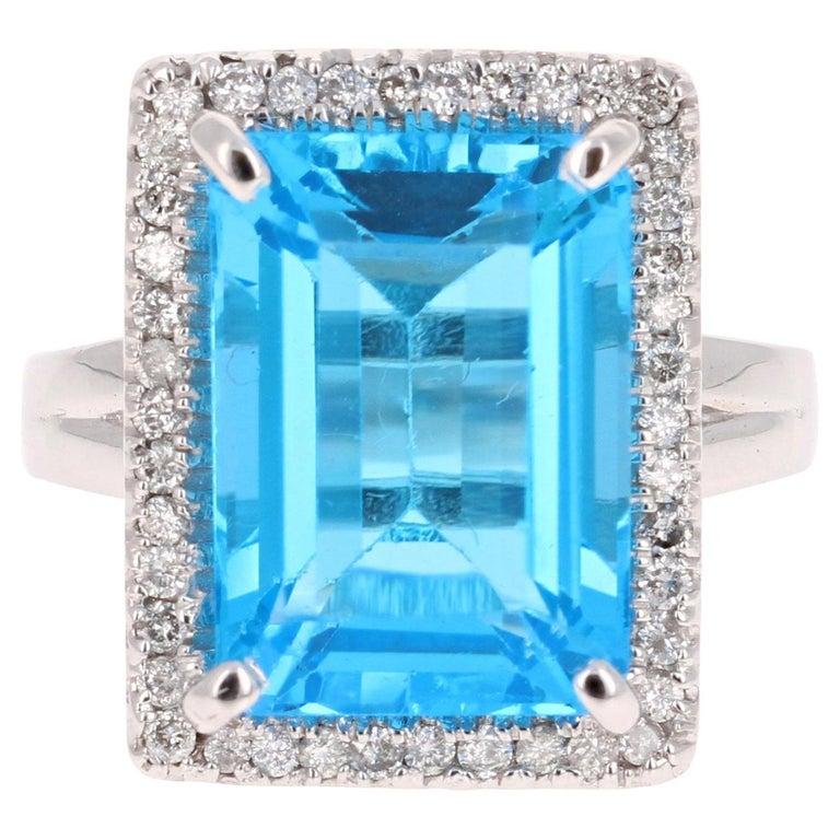 10.59 Carat Blue Topaz Diamond 14 Karat White Gold Cocktail Ring For Sale