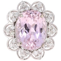 10.59 Carat Kunzite Diamond White Gold Ring