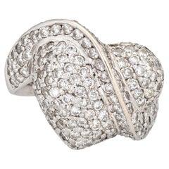 1.05ct Pave Diamond Heart Ring 14k White Gold Vintage Fine Estate Jewelry