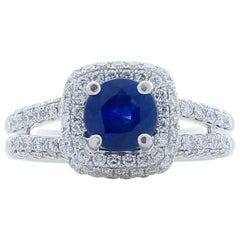 1.06 Carat Blue Sapphire and Diamond White Gold Cocktail Ring