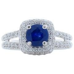 AGL Certified 1.06 Carat Blue Sapphire & Diamond White Gold Ring
