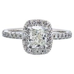 1.06 Carat Cushion Cut Diamond G/VS2 GIA Halo Engagement Ring