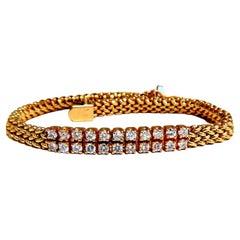 1.06 Carat Diamond Idtag Bracelet and Weave Pattern Vintage Deco 14kt