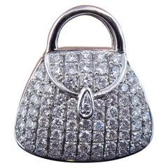 1.06 Carat Diamond Pendant Charm of a Handbag, 18 Carat White Gold