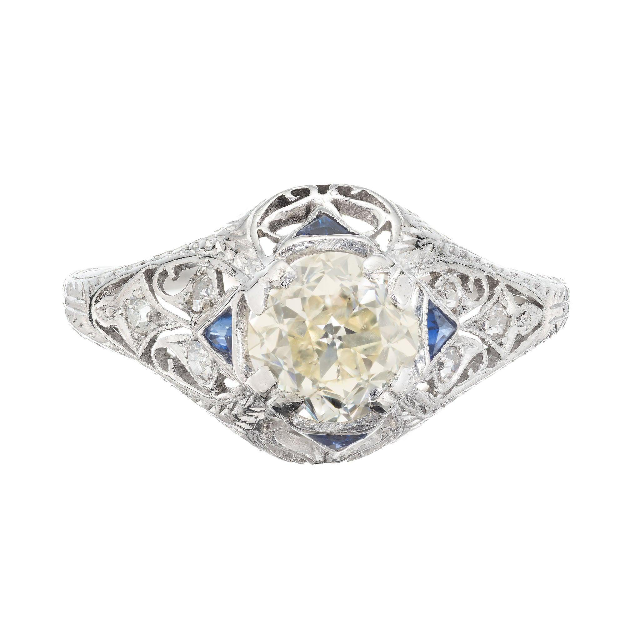 1.06 Carat Diamond Sapphire Platinum Engraved Engagement Ring
