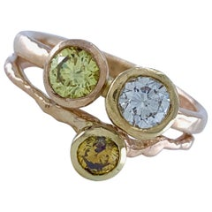 """1.06 Carat """"Jumble"""" Ring with Diamonds in Three Colors and Gold in Two Colors"""