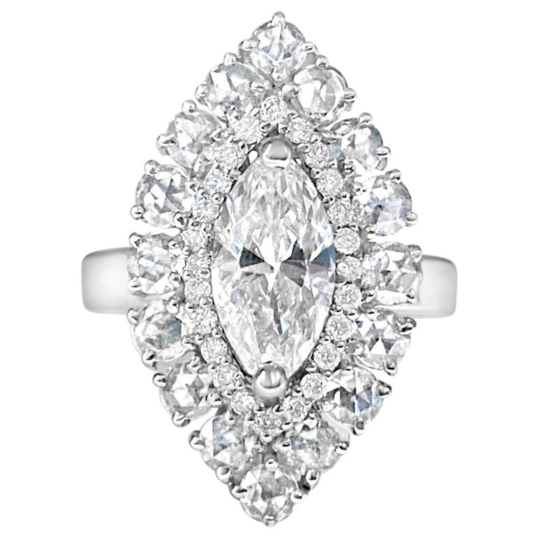 1.06 Carat Marquise Diamond and Rose Cut Ring For Sale