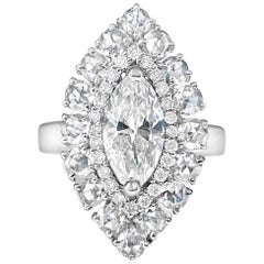1.06 Carat Marquise Diamond, Centered Around 2.84 Carat Rosecut Diamonds