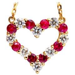 1.06 Carat Natural Red Ruby Diamond Open Heart Necklace 14 Karat