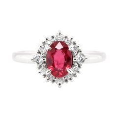 1.06 Carat, Natural Ruby and Diamond Art Deco Styled Ring Set in Platinum