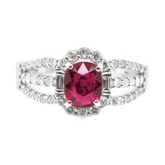 1.06 Carat, Natural Ruby and Diamond Ring Set in Platinum