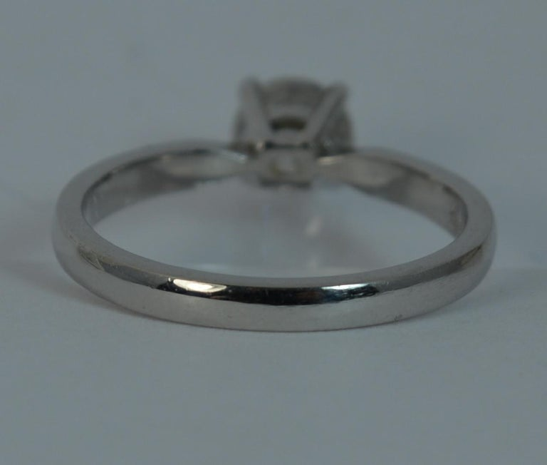 1.06 Carat Old Cut Diamond 18 Carat White Gold Solitaire Engagement Ring For Sale 4